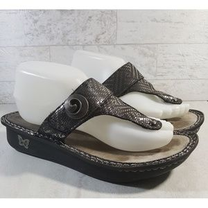Alegria flip flop sandals shoes silver metallic 41